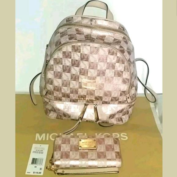 0af9867d348a ... cheapest michael kors rose gold checker backpack wallet af4ed 0088c